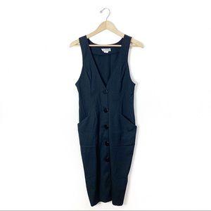 Vintage 1990s black jumper overalls dress S